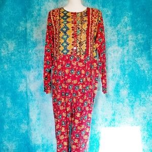 VTG 80s Funky Red Tribal Jumpsuit by Julie